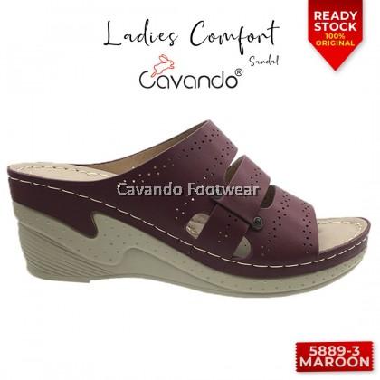 Cavando Ladies Comfort Sandals 5889-3 (Camel , Maroon , Blue)