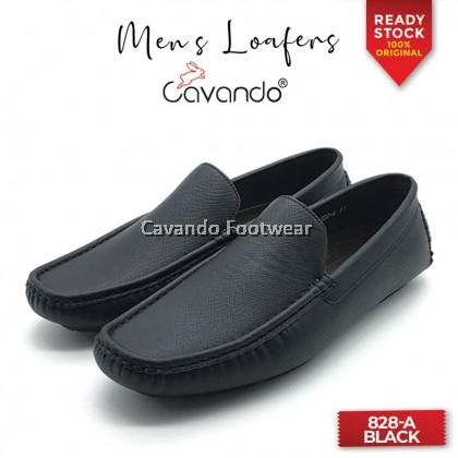 Cavando Men PU Leather Loafer Shoes (828-A Black / Blue / Tan)