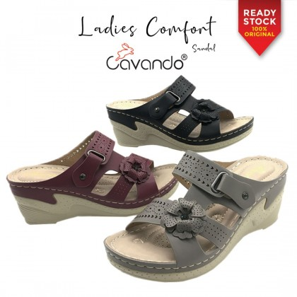 Cavando Ladies Comfort Sandals 5889-7 (Grey , Black , Maroon)