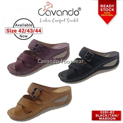 Cavando Ladies Comfort Sandals EXTRA LARGE SIZE - 0291-B2 (Black , Tan , Maroon)